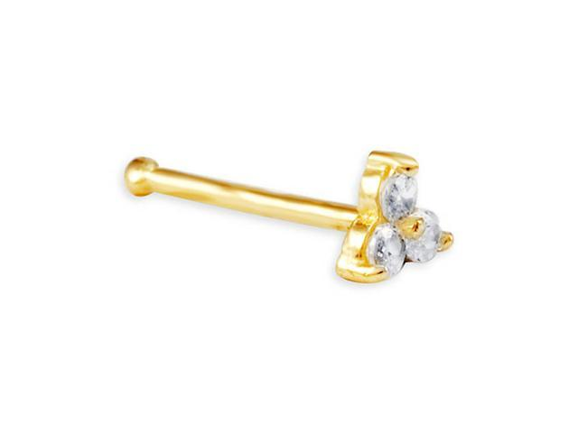 New 14k Yellow Gold White CZ 20g Bone Nose Stud Ring