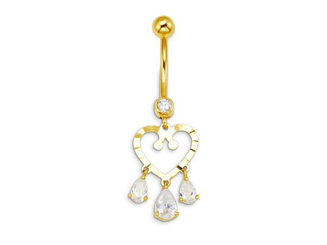 14k Yellow Gold Pear Dangle Heart CZ Belly Button Ring