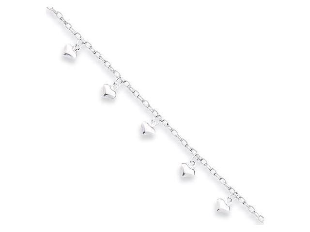 925 Sterling Silver Dangle Heart Love Ankle Bracelet