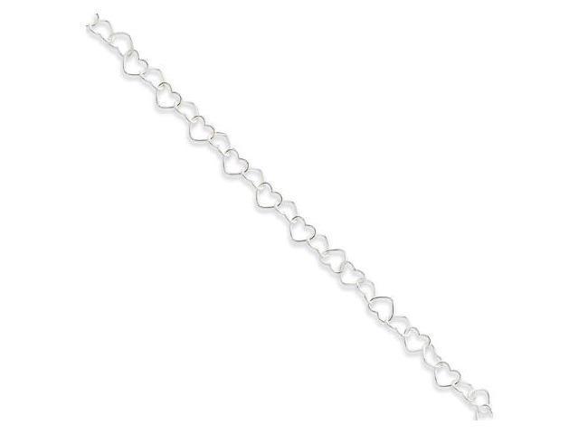 925 Sterling Silver Enamel Heart Link Ankle Bracelet
