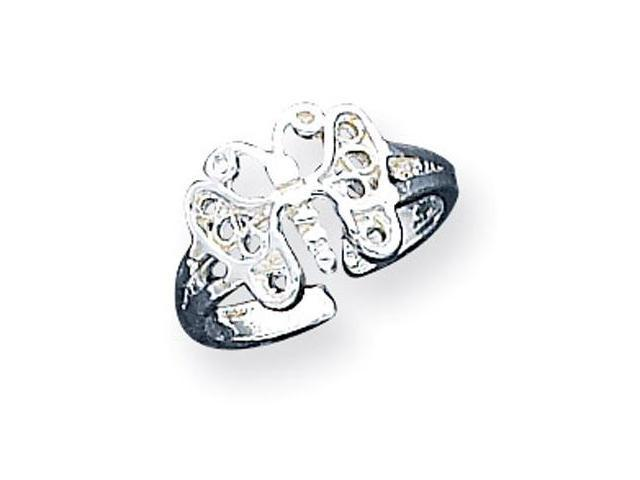 925 Sterling Silver Polished Cut Out Butterfly Toe Ring
