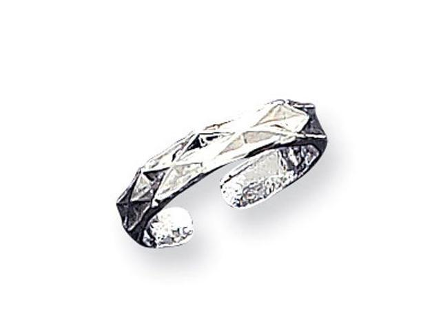 925 Sterling Silver Detailed Diamond Design Toe Ring