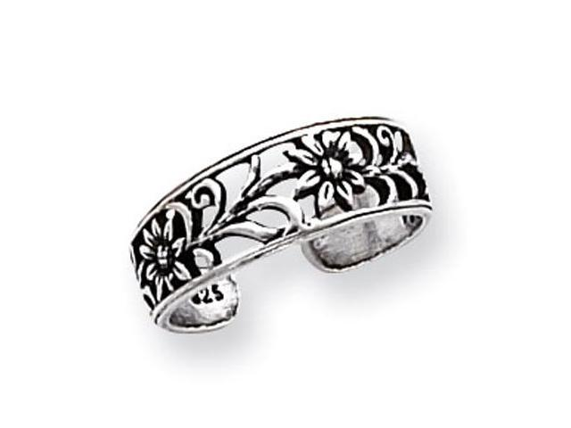 925 Sterling Silver Solid Antiqued Open Floral Toe Ring
