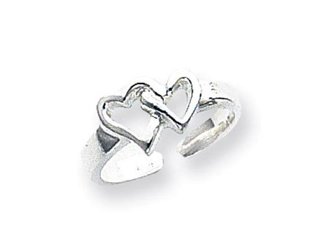 925 Sterling Silver Open Cutout Double Heart Toe Ring