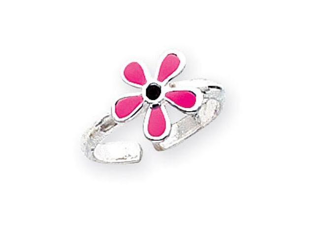 925 Sterling Silver Pink Enamel Daisy Flower Toe Ring