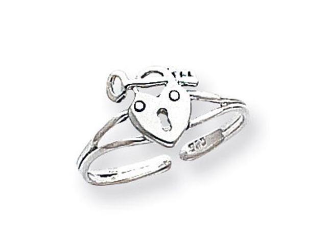 925 Sterling Silver Heart Padlock Key Love Toe Ring