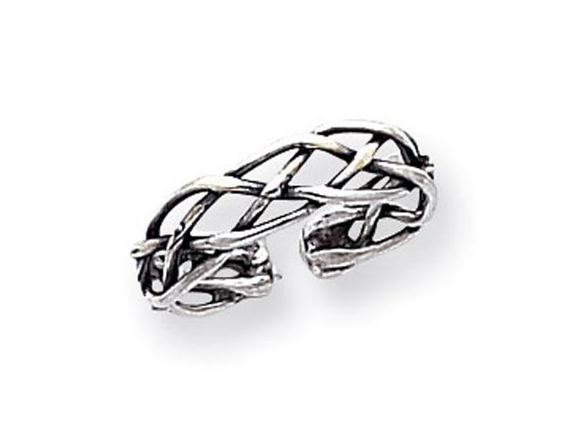 925 Sterling Silver Celtic Open Weave Knot Toe Ring