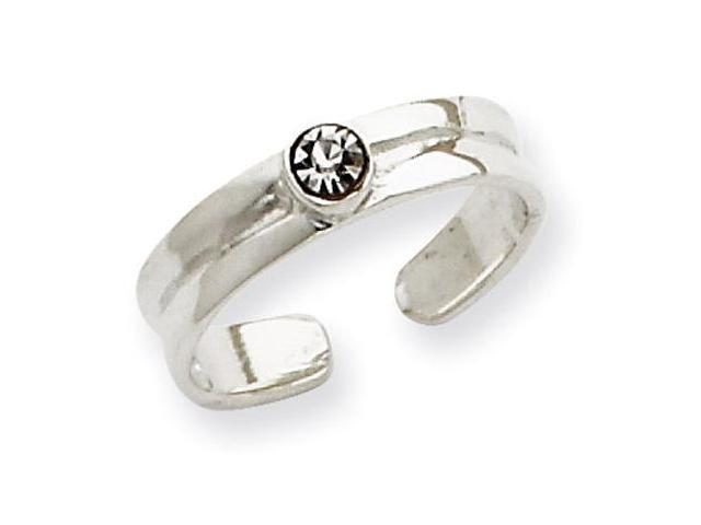925 Sterling Silver White CZ Solid Polished Toe Ring