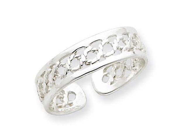 925 Sterling Silver Polished Open Rope Weave Toe Ring