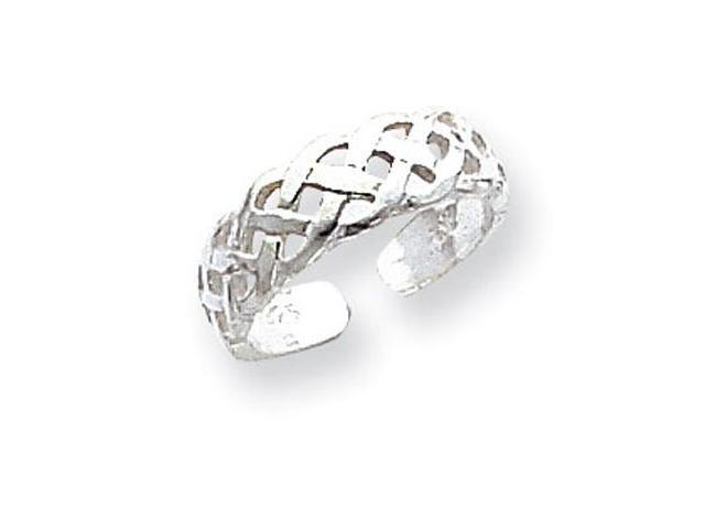925 Sterling Silver Polished Open Celtic Weave Toe Ring