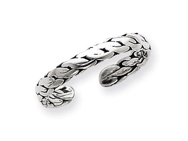 925 Sterling Silver Rope Weave Fashion Toe Band Ring