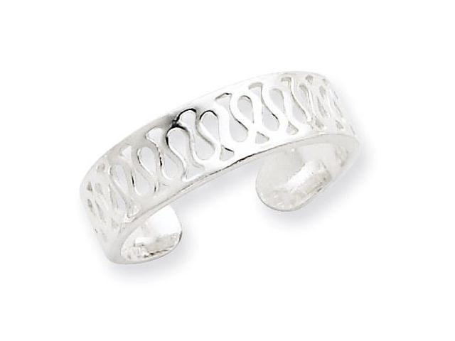 925 Sterling Silver Solid Polished Open Cutout Toe Ring