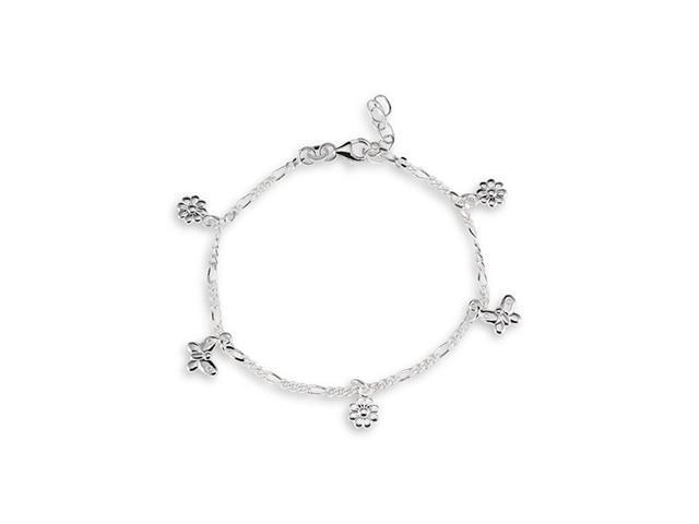 Butterfly Flower .925 Sterling Silver Ankle Bracelet