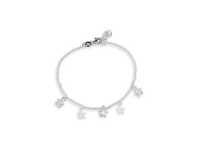 Solid Cut Out Star 925 Sterling Silver Ankle Bracelet