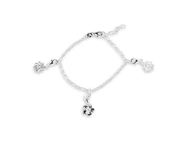 Flower Charm Link 925 Sterling Silver Ankle Bracelet