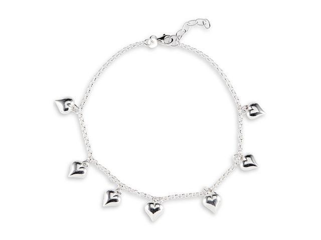 925 Sterling Silver Heart Charm Ankle Bracelet Anklet