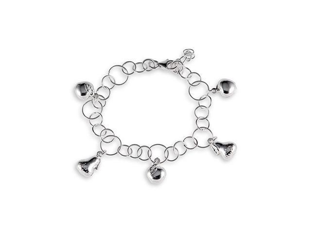 Solid 925 Silver Round Link Apple Pair Ankle Bracelet
