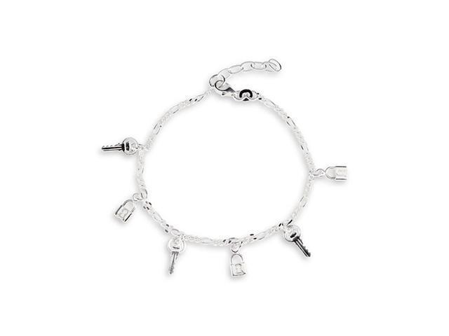 Solid 925 Sterling Silver Lock Key Charm Ankle Bracelet