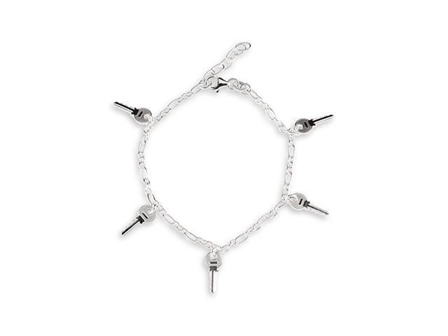 925 Sterling Silver Oval Link Key Ankle Bracelet Anklet