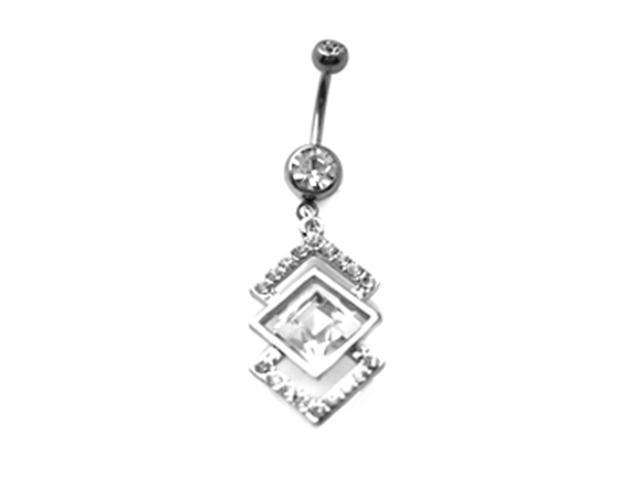 Triangle Trio White CZ Dangling Belly Button Navel Ring