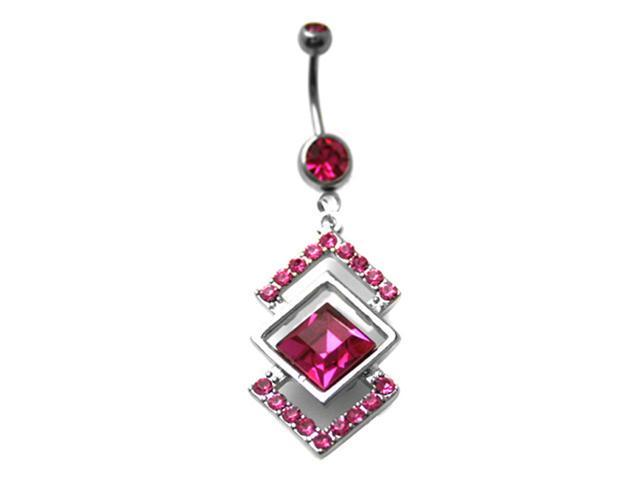 Pink CZ Triangle Trio Dangling Belly Button Navel Ring