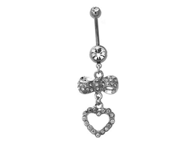 Round CZ Heart Bow Dangling 14g Navel Belly Button Ring