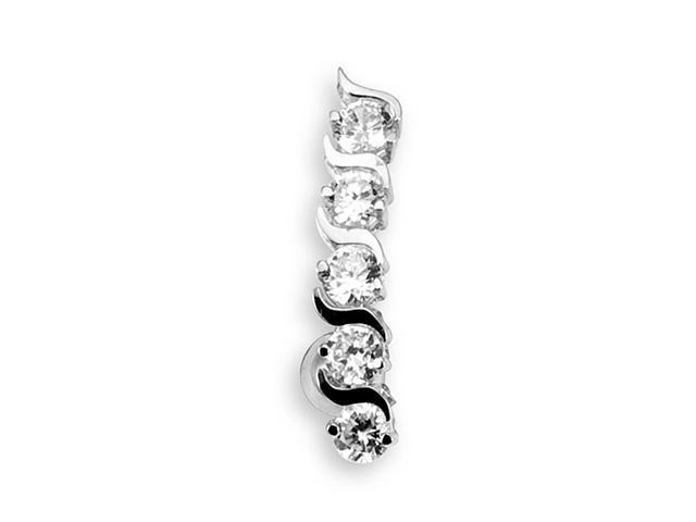 14k White Gold Round CZ Swirl 14g Belly Button Ring