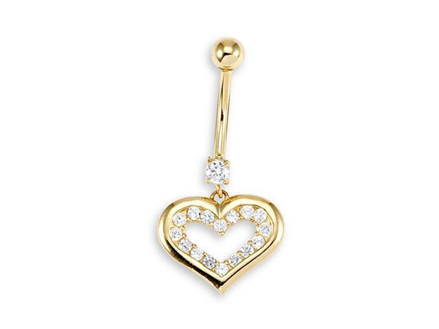 14k Yellow Gold Round CZ Heart 14g Belly Button Ring