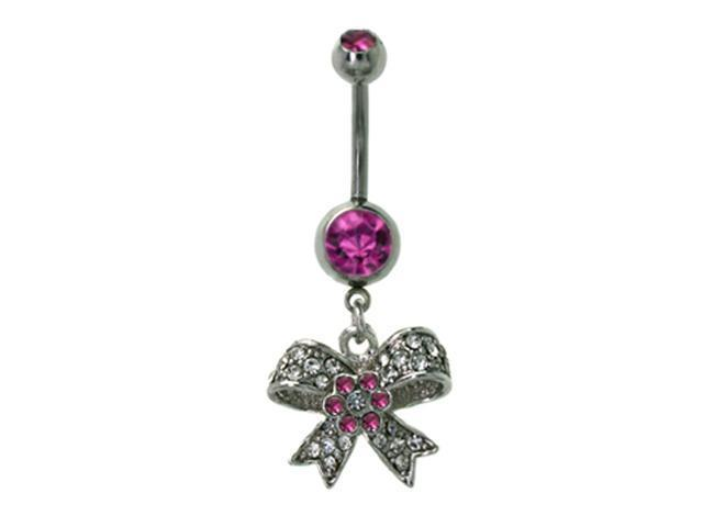 White Pink CZ Bow Flower Dangling 14g Belly Navel Ring
