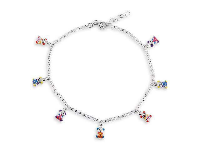 925 Silver Multi Color Teddy Bear Charm Ankle Bracelet