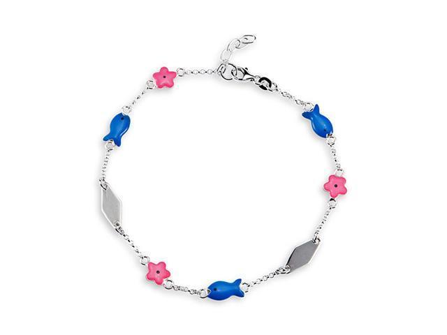 Blue Pink Enamel Flower Fish 925 Silver Anklet Bracelet