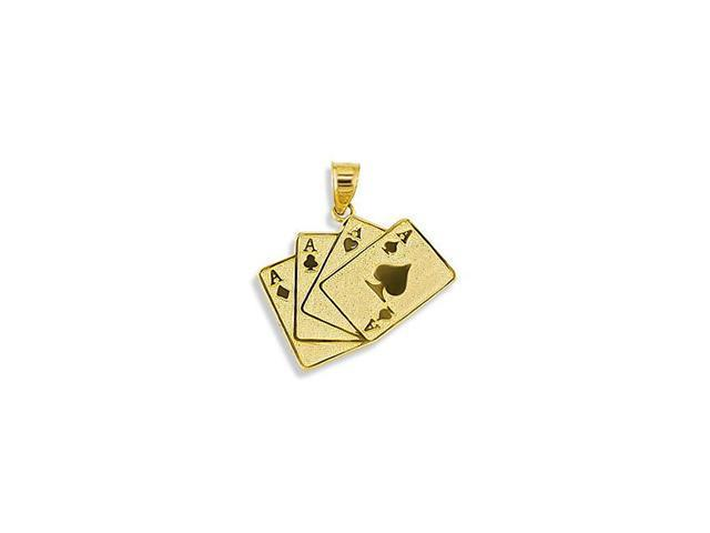 14k Yellow Gold Poker 4 Four Aces Playing Cards Pendant