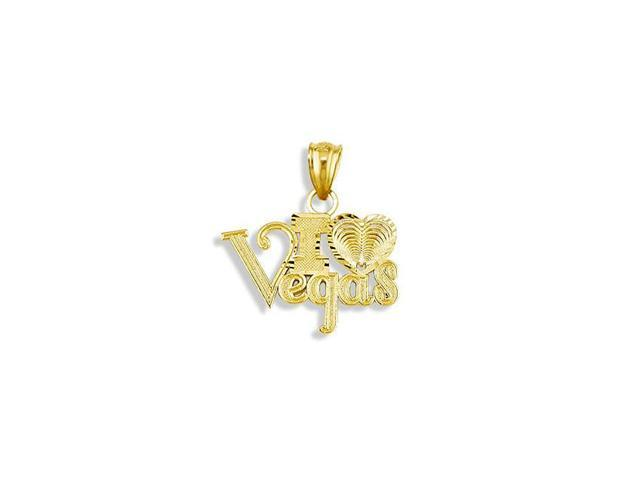 14k Yellow Gold I Heart Love Vegas Diamond Cut Pendant