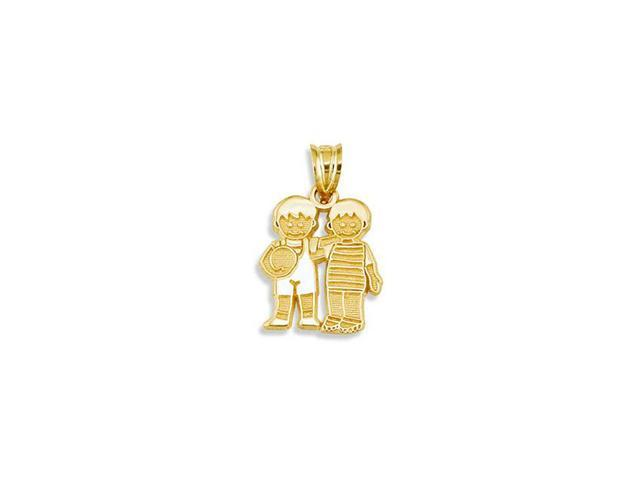 Childrens 14k Yellow Gold Boys Best Friends Pendant