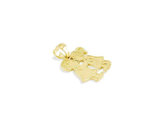 Solid 14k Yellow Gold Boy Girl Child First Kiss Pendant