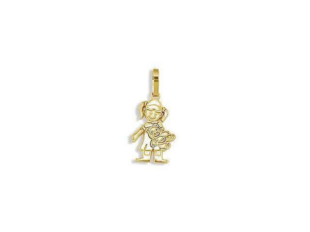 Childrens 14k Yellow Gold Girl Teddy Bear Charm Pendant