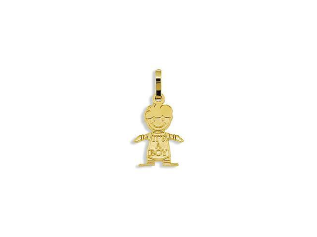 Solid 14k Yellow Gold Its A Boy Child Baby Pendant