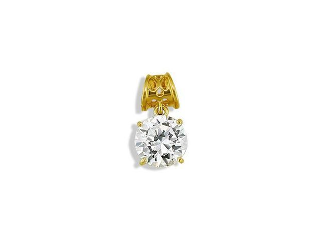 Polished 14k Yellow Gold Round CZ Solitaire Pendant