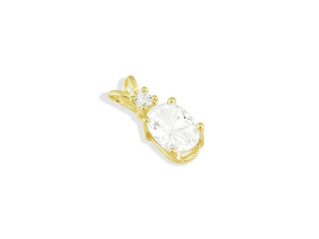 14k Solid Gold Round Oval Cubic Zirconia Slider Pendant