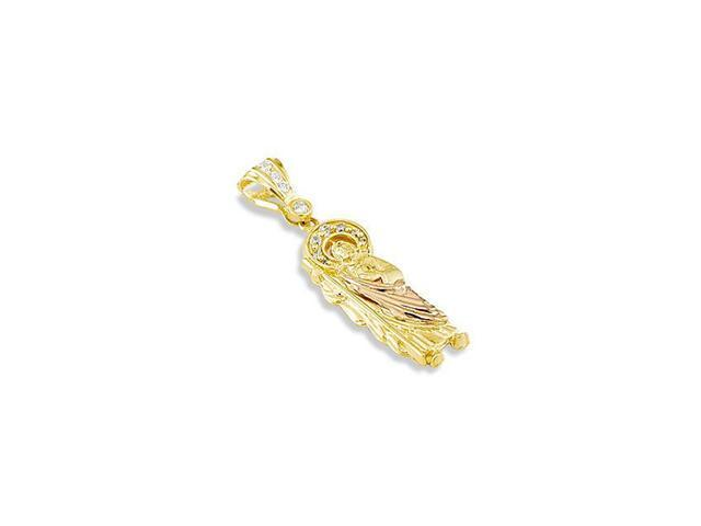 14k Yellow Rose Gold CZ Saint Jude Thaddeus Pendant