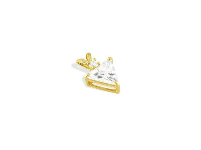 14k Yellow Gold Trillion CZ Solitaire Slider Pendant