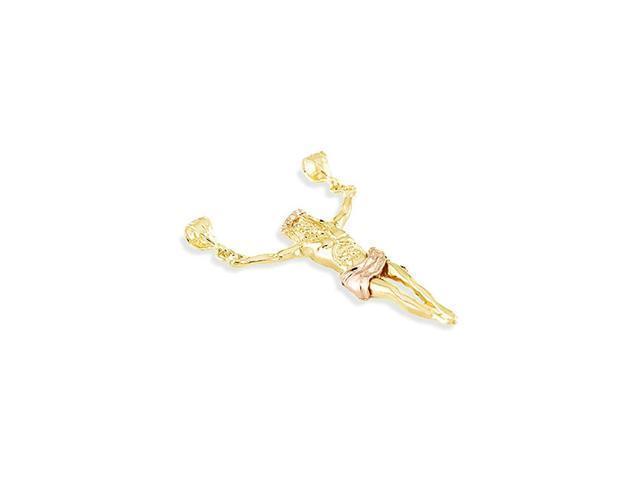 14k Yellow Rose Gold Jesus Christ Sacred Slider Pendant