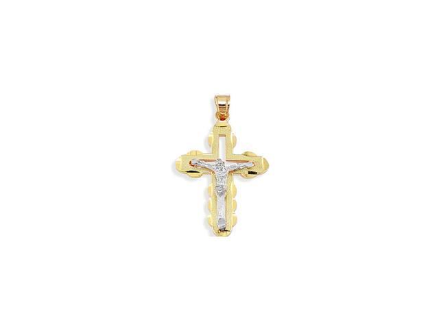 14k White Yellow Gold Christ Cross Crucifix Pendant