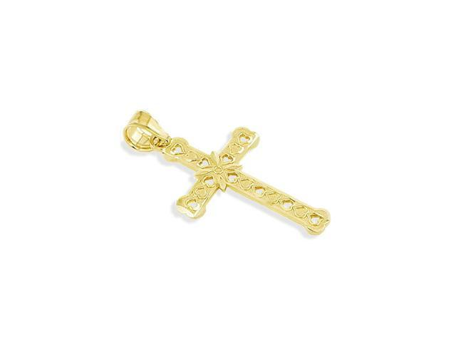 14k Yellow Gold Diamond Cut Heart Floral Cross Pendant