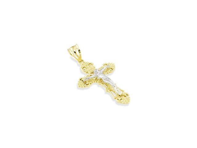 14k Yellow White Gold Victorian Style Cross Pendant