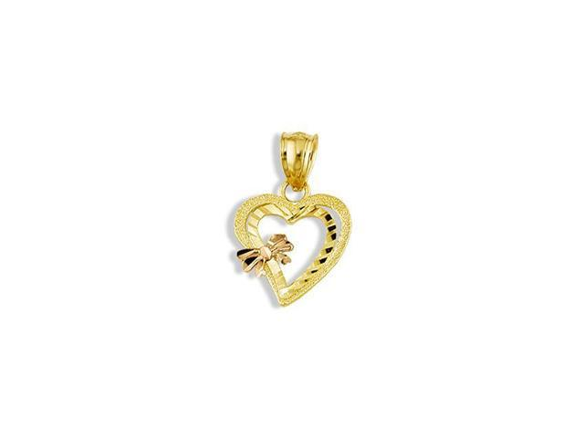 14k Yellow Rose Gold Cutout Hearts Love Bow Pendant