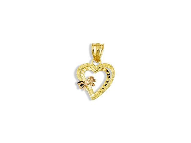 14k Yellow Rose Gold Cutout Hearts Love Bow Pendant