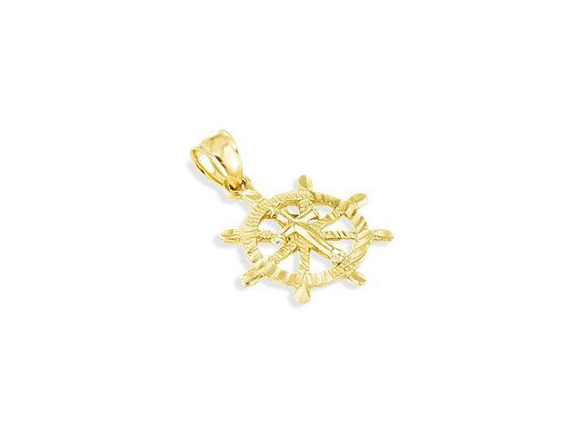 14k Solid Gold Marine Captain Wheel Cross Charm Pendant