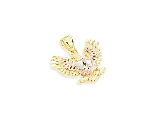 14k Yellow White Rose Gold Diamond Cut Eagle Pendant