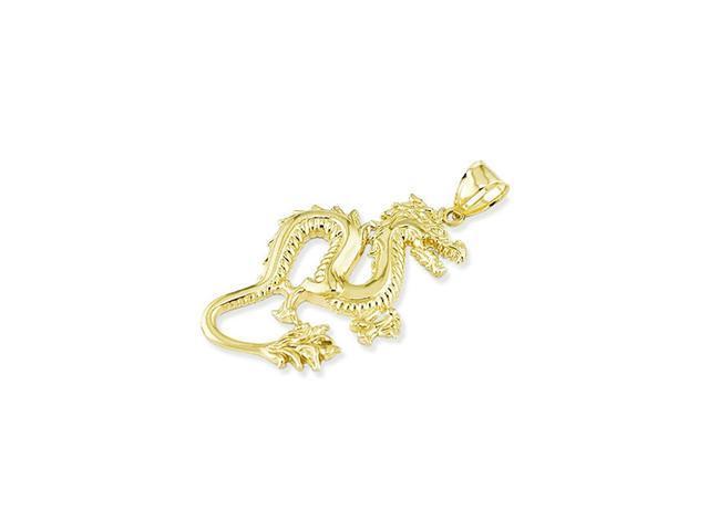 Mens 14k Yellow Gold Detailed Dragon Puffy Pendant